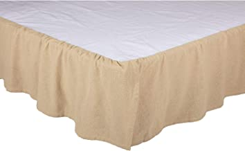 VHC Brands Farmhouse Natural Split Corners Distressed Appearance Cotton Burlap Solid Color Queen Bed Skirt, Vintage White Tan