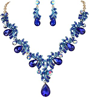 Clearine Women's Wedding Bridal Crystal Teardrop Filigree Leaf Twig Statement Necklace Dangle Earrings Set