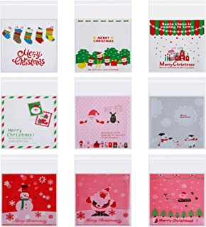 Blulu 360 Pieces Christmas Self Adhesive Candy Cookie Bags Plastic Treat Bags for Christmas Party Homemade Crafts, 9 Styles