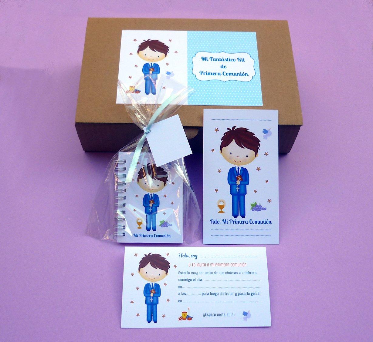 Recuerdos y Regalos de Comunión Para Invitados - Kit Detalle de Primera Comunión Niño - Incluye 15 invitaciones con sobre - 15 recordatorios con sobre - 15 libretas con bolsa y cintas surtidas: Amazon.es: Hogar