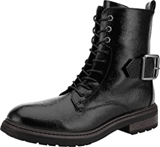 Black Combat Boots for Women Fashion Low Heel Booties Lace Up & Zipper Closure