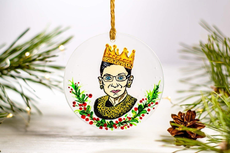 Glass Christmas Ornament Christmas Ornament RBG Ornament Ruth Bader Ginsburg Ball Ornament Commemorative Ornament RBG Christmas