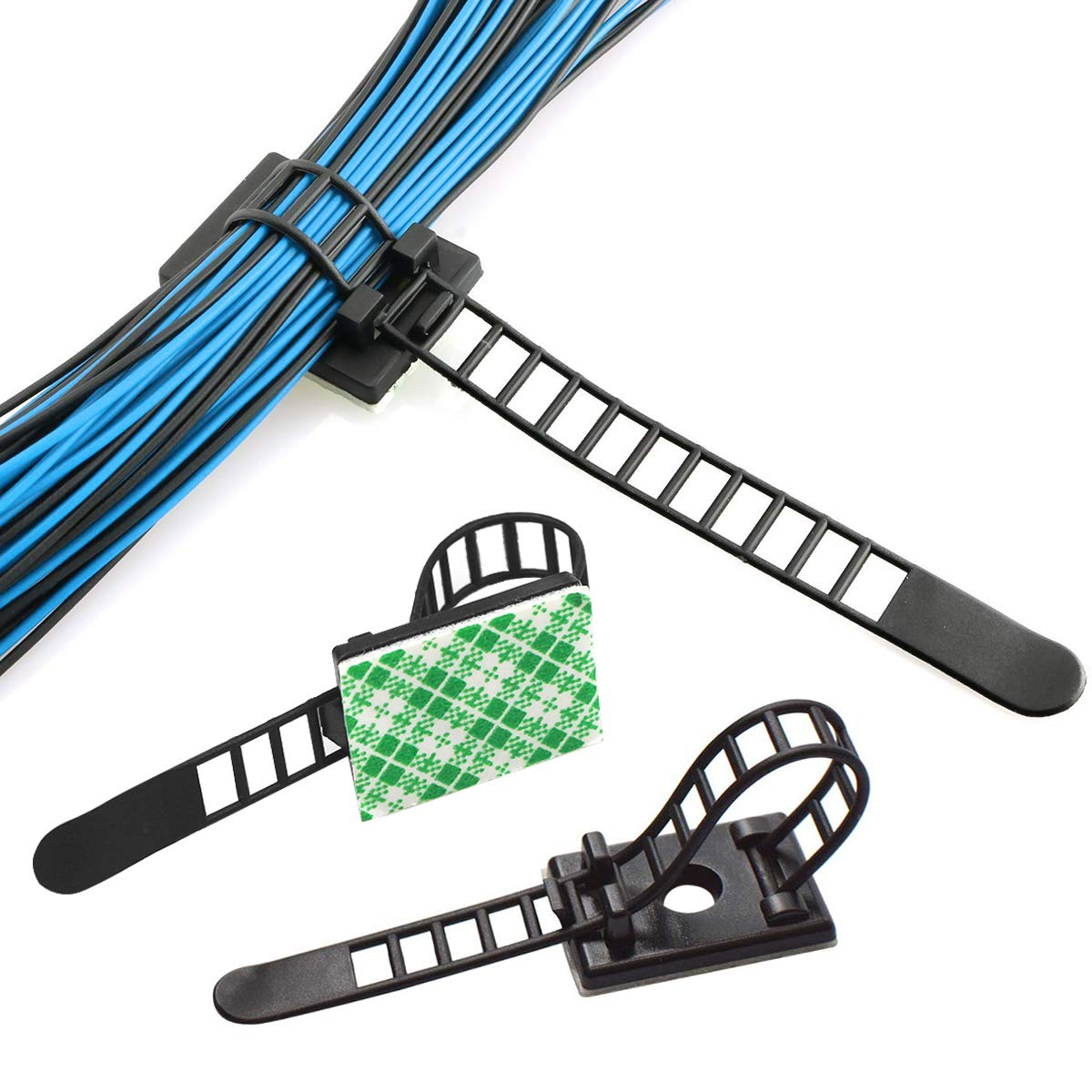 Coolty 100 Pack Adjustable Self-Adhesive Nylon Cable Ties Cable Clamps with Optional Screw Cord Clamps for Wire Management