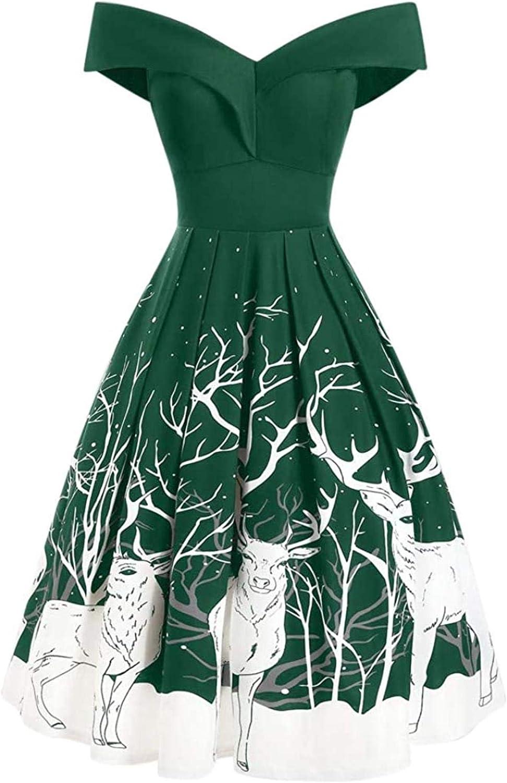 Women Vintage Midi Dress Xmas Recommendation Sleeveless Print Par San Jose Mall Evening Retro