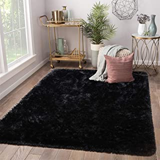Terrug Soft Kids Room Rug, Black Shag Area Rugs for Bedroom Living Room Carpet,Plush Fluffy Fur Rug for Nursery Girls Dorm Home Decor,5X8 Feet, Black