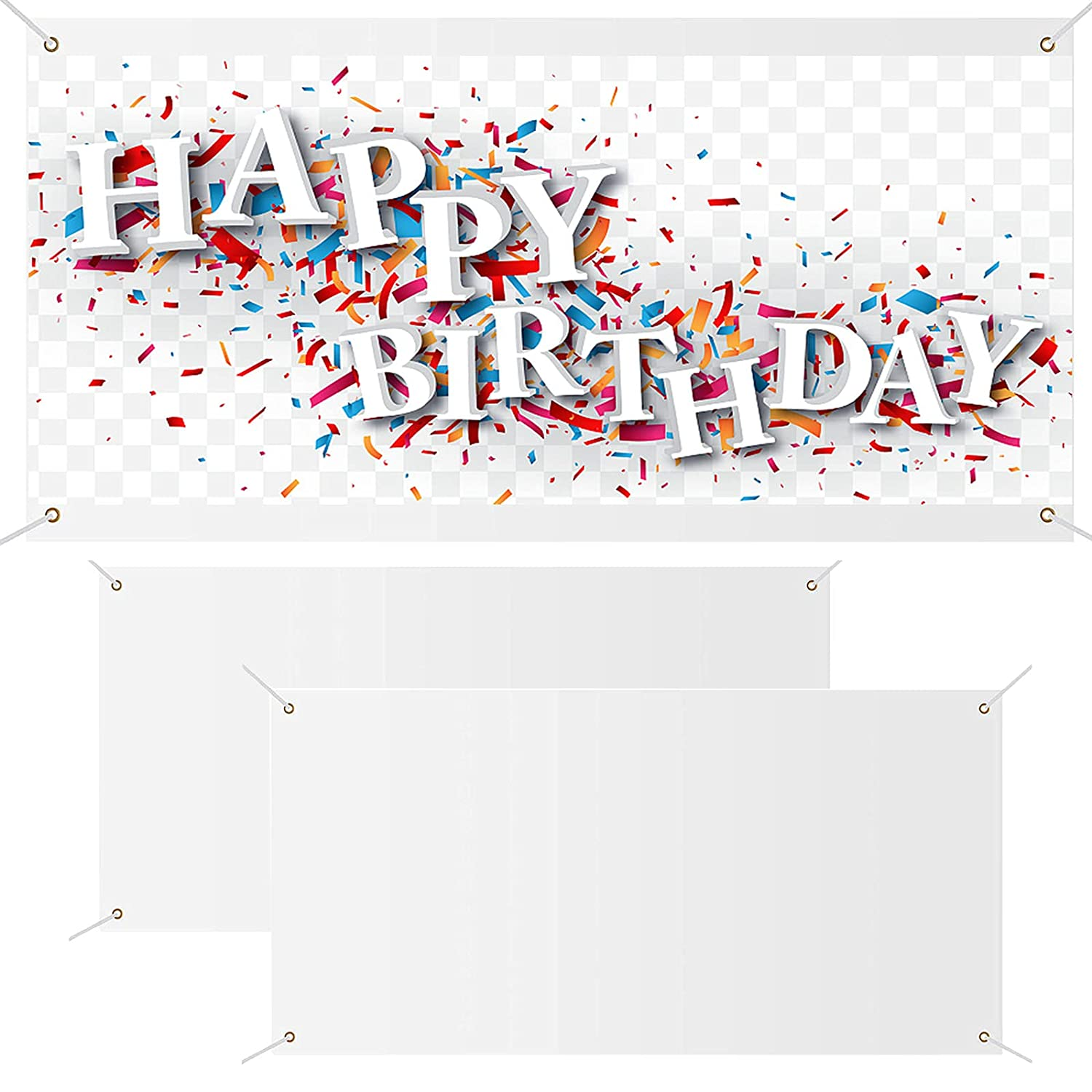 2Pcs Large Banners and Signs Blank Banner, White Polyester Custom Banner Flag With Hanging Rope, Make Your Own Personalized Party Diy Banners and Signs for Indoor Wall Outdoor (White, 2 x 6 Feet)