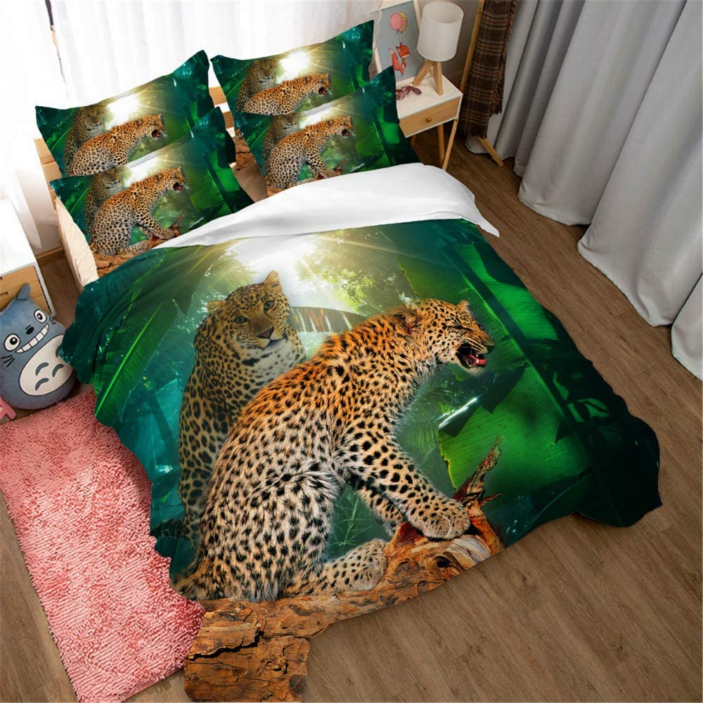 Low price Earendel Recommended Leopard Duvet Cover Set Aggressive Anima Forest Bedding