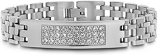 Steve Madden Stainless Steel Three Row Crystal ID Bracelet for Men