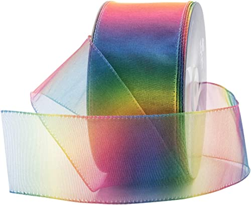 """new arrival Royal Imports Rainbow Organza Colorful Wired Sheer wholesale Shimmer Ribbon, 2.5"""" (#40) for Floral, Craft, sale Holiday Decoration, 50 Yard Roll (150 FT Spool) Bulk online sale"""
