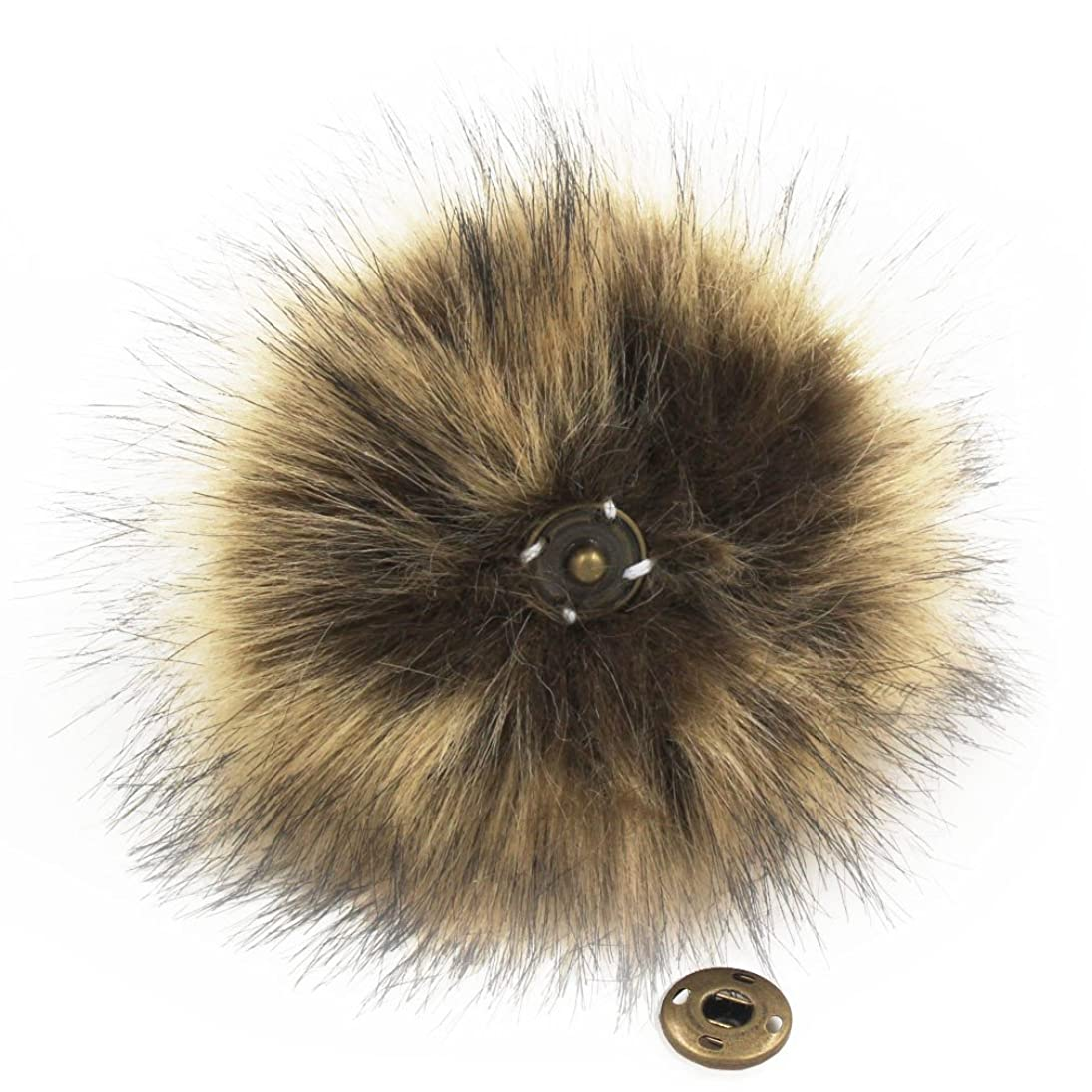 DIY Knitting Hats Accessires-Faux Fake Fur Pom Pom Ball with Press Button (Brown)