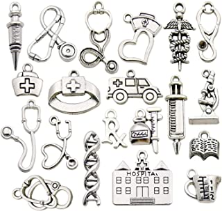 iloveDIYbeads 60pcs Craft Supplies Antique Silver Medical Nurse Charms DNA Stethoscope Syringe Nurse Cap Hat Charms for Jewelry Making Crafting Findings Accessory for DIY Necklace Bracelet M319