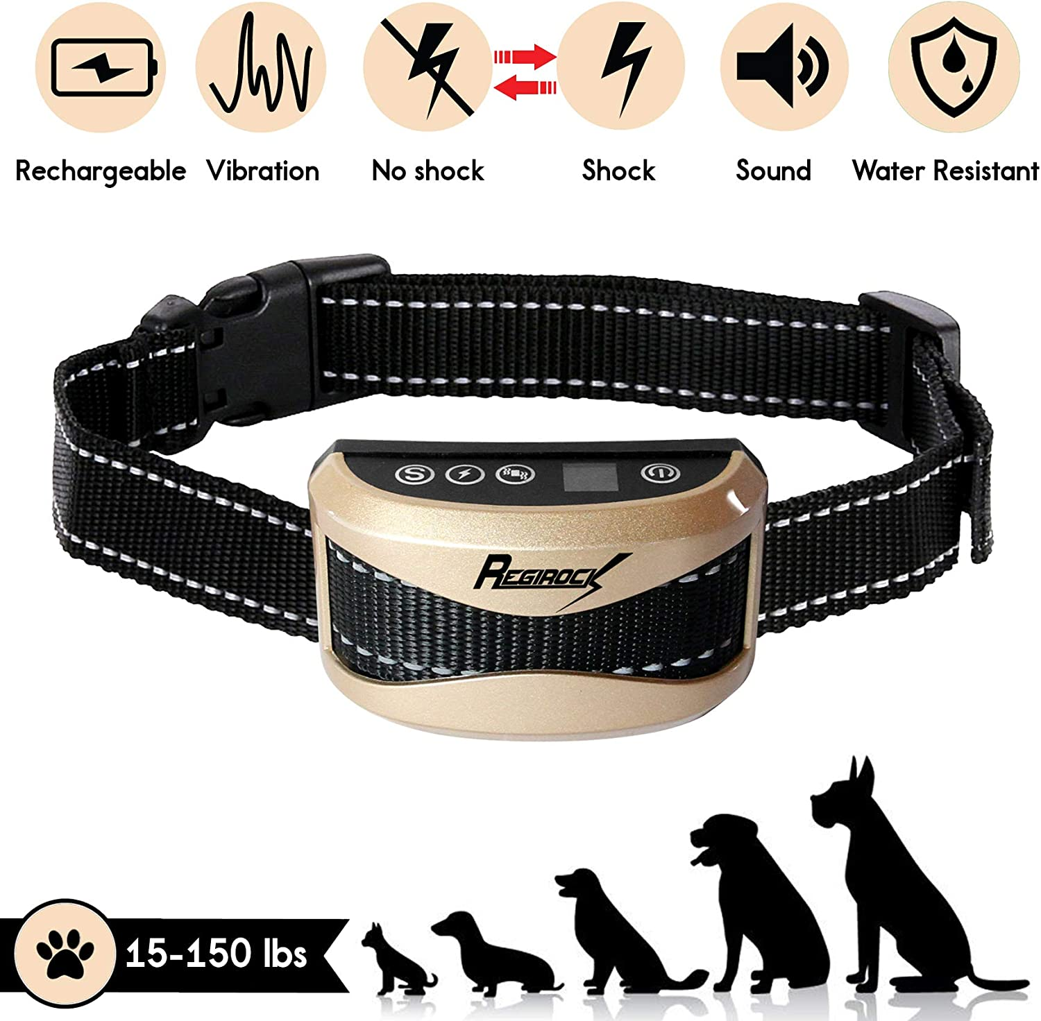 REGIROCK 2018 Upgrade Version Barking Control Collar  Rechargeable & Rainproof No Bark Collar Sound, Vibration Static Shock  7 Levels Sensitivity Small Medium Large Dog