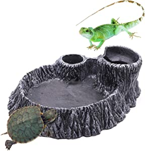 Tfwadmx Reptile Water Feeder Turtle Food and Water Bowl Small Animal Resin Rock Feeder Automatic Water Dispenserfor Pet Tortoise Lizard Frog Gecko Snake Chameleon