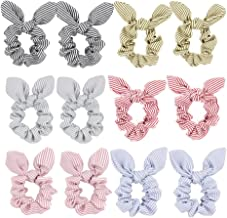 Hair Scrunchies Ties with Bow - Striped Bunny Ear Hair Elastic Bands Ponytail Holder for Women Accessories 12pcs