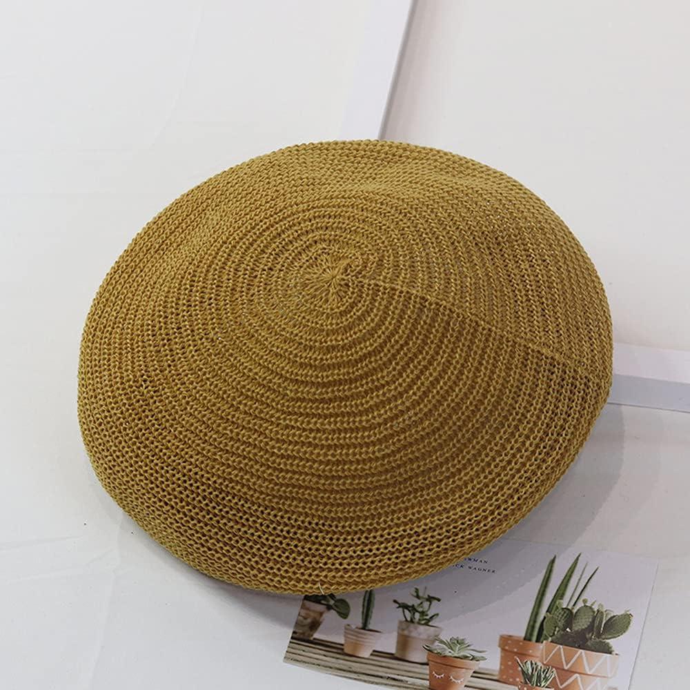 Korean Sweet Foldable Spring Summer Flat Caps Women Sun Hats Knit Berets Solid Color(Ginger)