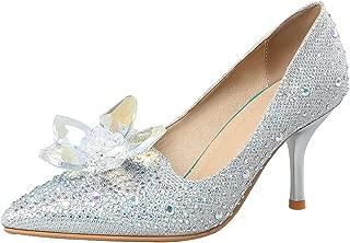 Sexy Rhinestone Pointed Toe Pump - Flowers Low Cut - Slip on Stiletto High Heels Wedding Shoes