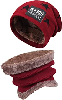 Kids Boys Girls Winter Warm Knit Beanie Hat Cap and Scarf...