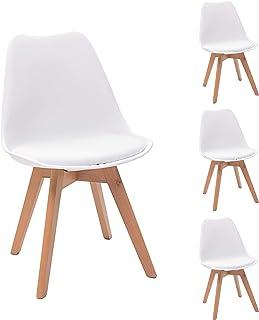 NAKURA Juego de 4 sillas de Comedor Homely Day, Patas de Madera y Carcasa Polipropileno