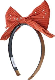 Small Ribbed Pop Up Bow Headband With Gold Splatter For Girls Rust