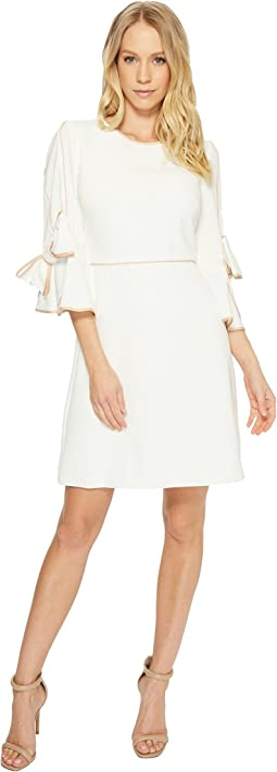 Piped Bow Sleeve Dress