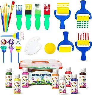 BLOT Peinture au Doigt Lavable Kit de Peinture au Doigt Enfants avec Étui Portable Éponge Pinceaux de Peinture pour Matern...