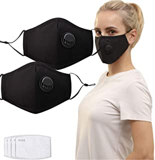 2 Pack Unisex Reusable Cotton Cover with Breathing Valve, Feeke Washable Cotton Mouth Protective Fabric Cloth Bandanaswith 4 Pcs Carbon Filters and Adjustable Ear Loops for Men and Women, Black