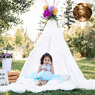 Senodeer Teepee Tent for Kids Play Tent for Girls/Boys with Ferry Lights + Floor Mat + Carry Case, Large Toys for Kids, Raw White Color
