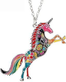 """Bonsny Fantasy Collection """"NATHIAYA"""" Enamel Alloy Horse Unicorn Necklace Pendant 18"""""""