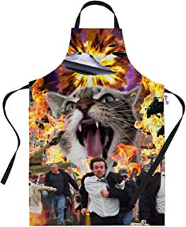 Kitchen Aprons Funny Space Cat Alien Panic BBQ Apron Baking Gifts Men Novelty Cooking Chefs Gift Idea