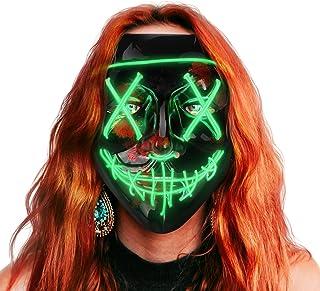 AnanBros Halloween Maske, LED Purge Maske im Dunkeln Leuchtend, Halloween Purge Maske 3 Beleuchtungsmodi für Kostümspiele ...