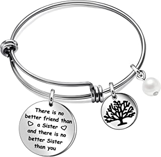 JQFEN Sisters Bracelets Frienship Jewelry Tree of Life Pearl Chrams Bracelets for Sister Friend