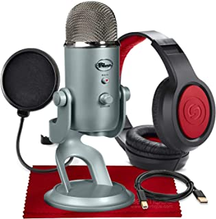Blue Yeti USB Microphone (Platinum) with Studio Headphones and Pop Filter Accessory Pack