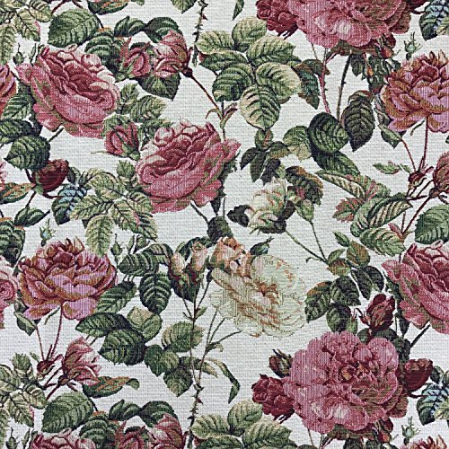 Florales luxuriöses Designer-Gobelingewebe mit Rosen, ideal für Kissen, Vorhänge und Überwürfe, 150cm Breite,Meterware
