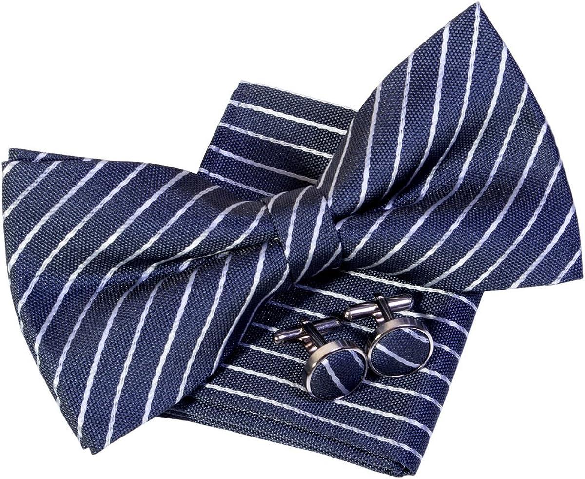 Classic Thin Stripe Woven Pre-tied Bow Tie (5