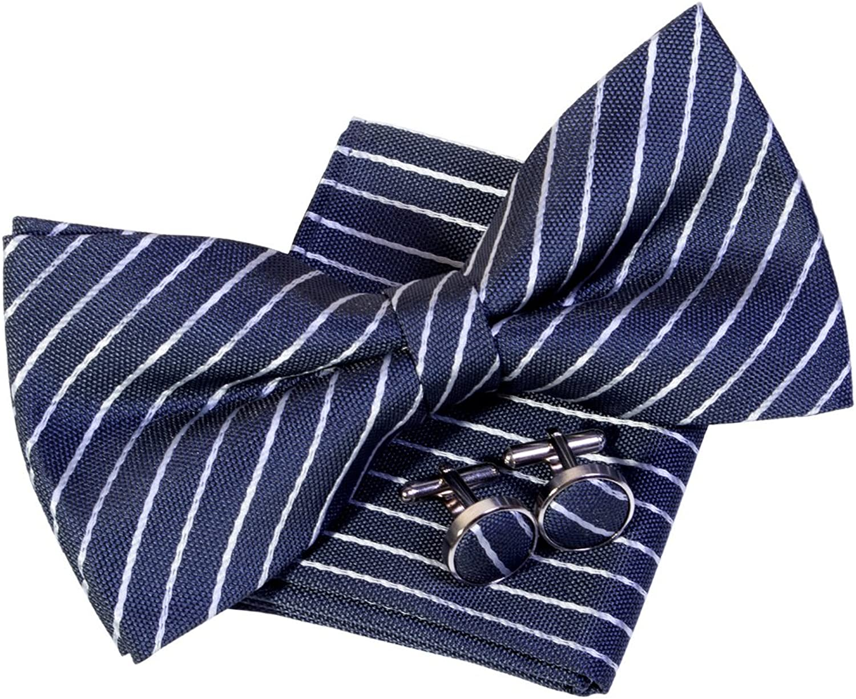 Classic Thin Stripe Woven Pretied Bow Tie (5 ) w Pocket Square & Cufflinks Gift Set