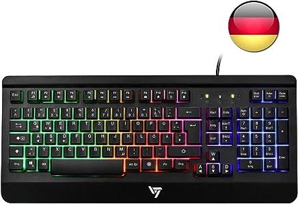 VicTsing Gaming Tastatur USB, Regenbogen beleuchtete Tastatur, Ganzmetallpaneel, QWERTZ Layout, 19 Tasten Anti-Ghosting ideal für Gaming, für PC/Laptop/Desktop/Windows/PS4, Schwarz