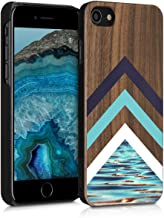 kwmobile Wood Case Compatible with Apple iPhone 7/8 / SE (2020) - Non-Slip Natural Solid Hard Wooden Protective Cover - Wood and Water Light Blue/White/Dark Brown