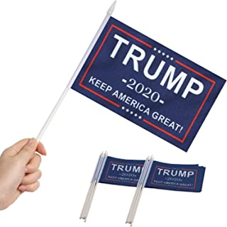 Best Anley Donald Trump President 2020 Keep America Great Mini Flag 12 Pack - Hand Held Small Miniature Donald Trump Flags on Stick - Fade Resistant & Vivid Colors - 5x8 Inch with Solid Pole & Spear Top Review