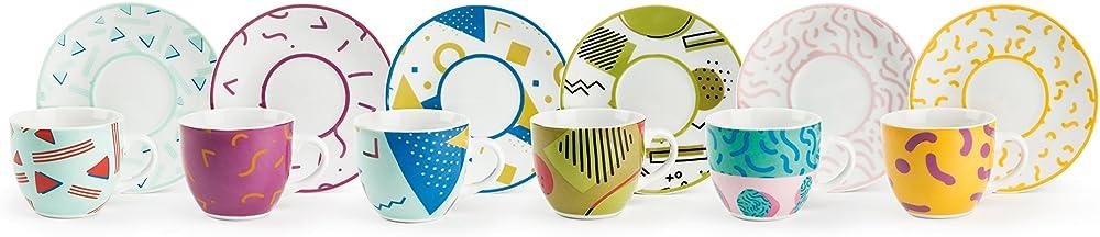Excelsa radical , set da 6 tazzine da caffè con piattino,in porcellana multicolore 62708