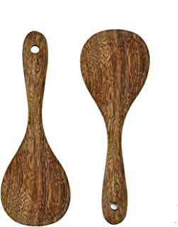 Islandoffer 8 Fish Shape Brown Art Natural Wooden Rice Spoon No Scratch Non-stick Cookware
