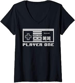 Womens Nintendo NES Controller Player One 8-Bit V-Neck T-Shirt