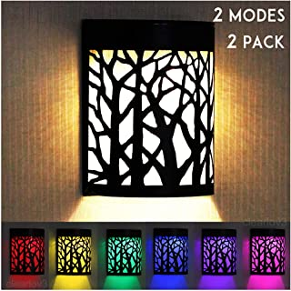 UPSTONE Outdoor Solar Wall Forest Night Light, 2 Modes Fence Post Solar Lights Garage Yard Step Deck Landscape Lighting for Outdoor Garden Pathway Stairs Fence,Warm White/Color Changing, 2 Packs