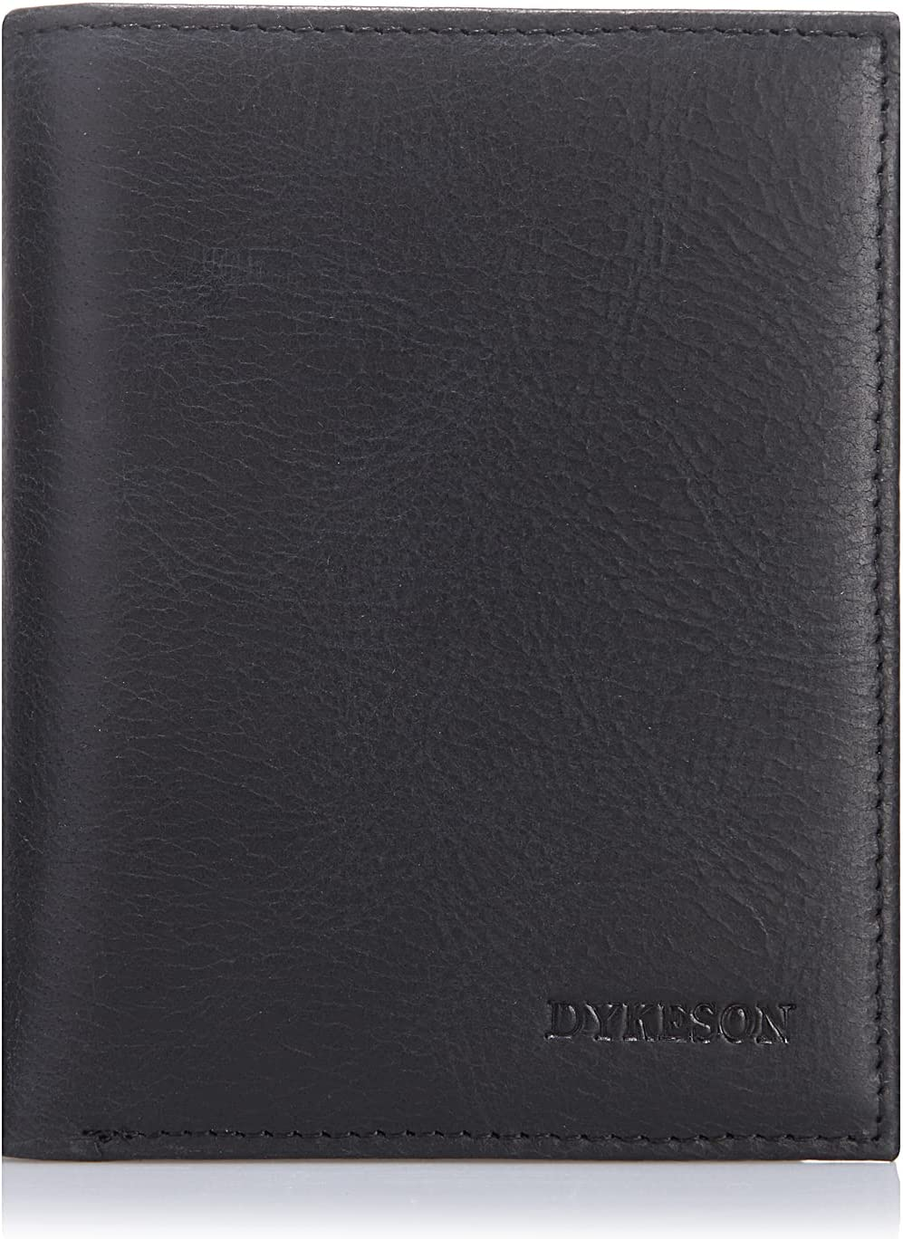 DYKESON Mens Front Pocket Wallet Genuine Leather Bifold RFID Blcking Credit Card Holder Wallet with 14 Card Slots T9 (Black)
