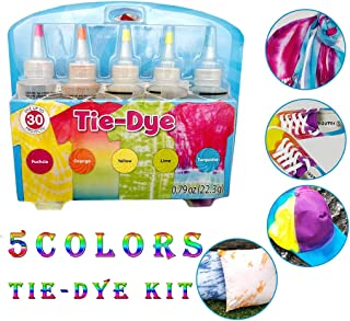 Tie Dyes DIY Kit, 3/5/24 Colors Tie Dye Shirt Fabric Dye for Women, Kids, Men, with Rubber Bands, Gloves, Dyeing Fabric Tie-Dye Kit (5 Colors-A)