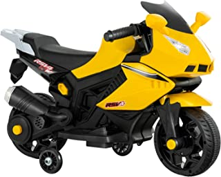 Uenjoy Kids Ride On Motorcycle 6V Electric Battery Powered Motorbike for Kids, Training Wheels, Music, Headlight, Yellow