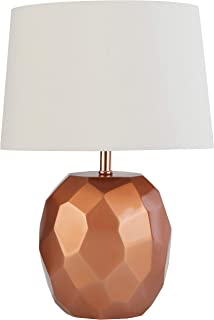 Rivet Copper Geometric Bedside Table Desk Lamp With Light Bulb - 16.75 Inches, Copper