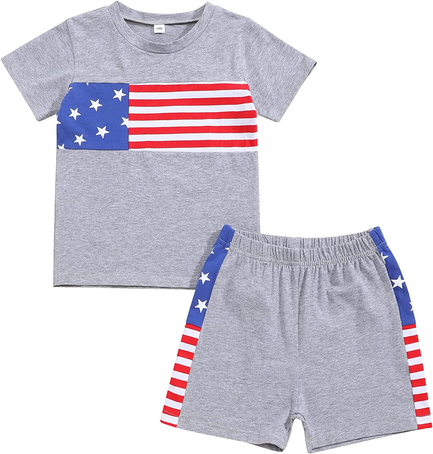 Toddler Infant Baby Boy 4th of July Clothes Striped Star American Flag T-Shirt Shorts Independece Day 2Pcs Outfit Sets