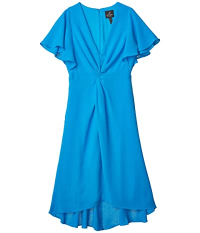 Adrianna Papell Twist Front Gauzy Crepe Dress (Electric Blue) Women