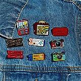 JWGD - Billet de cine, caramelos con dispensador automático, punk, película pin, esmalte, cine, cámara de cartón, arco, maleta, alfileres (tamaño: 5 1)