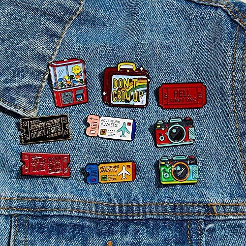 JWGD - Tarjeta de cine con broche y dispensador automático para punk, película de cine, cómic, despertador, avión, arco iris, maleta, pines del solapa, talla 5 2)